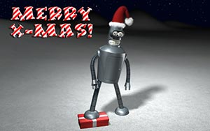 Bender from Futarama Wishes Merry Christmas